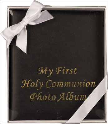 Communion Photo Album - Imitation Black Leather