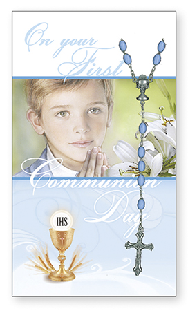 Communion Card & Rosary Set - Boy