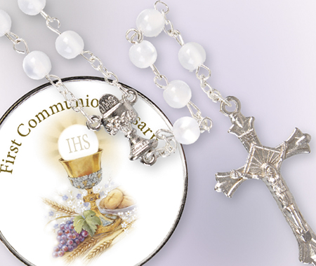 Imitation Pearl Rosary - Communion Gift