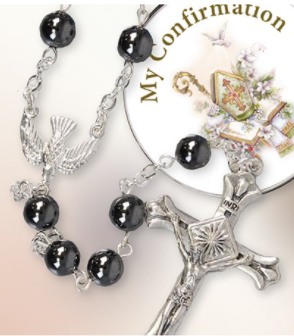 Communion Imitation Hematite Rosary/Metal Photo Box C63415