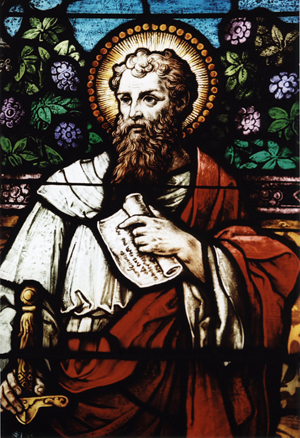 Paul the Apostle, detail of stained glass