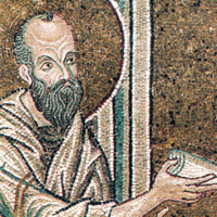 Paul handing on the Word, mosaic detail