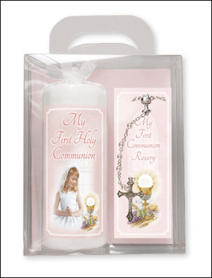 Communion Candle & A Rosary - Girl Boxed Gift