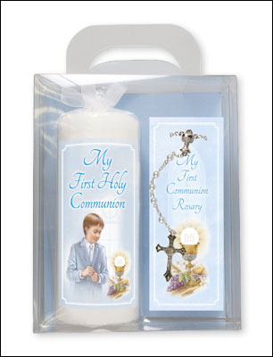 Communion Candle & A Rosary - Boy Boxed Gift