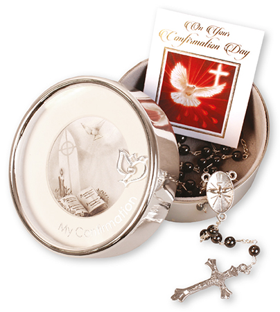 Confirmation Imitation Hematite Rosary/Metal Photo Box F63420