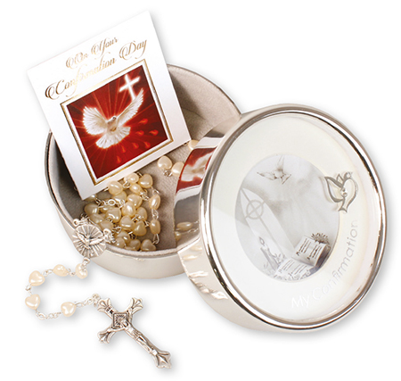 Confirmation Imitation Pearl Rosary/Metal Photo Box F63421