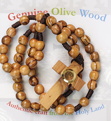 Large Corded Olive Wood Rosary/Vial 62536