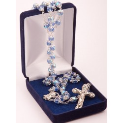 Rosary Clear Blue & Metal 496/3
