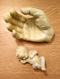 Hand & Child stone coloured resin