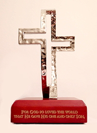 3D Standing Cross (plastic on wooden base)