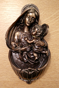 Mother and Child Holy water font: bronze colour resin