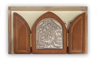 Plaque Nativity Triptic Wood/Silver TLA800/HNA