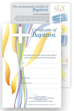 Baptism -  Certificate No.3 - pack of 25