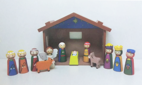 Nativity - Children's Wood Set With Shed (89291)