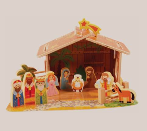 Nativity Set 89382 Children's Wood Figures and Shed