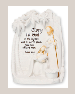 Nativity Plaque 89809 Holy Hamily with LED Light White Finish 5.5""