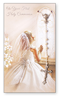 Card C27569 Communion Rosary Girl